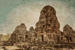 Ancient buddhist khmer temple in retro style Royalty Free Stock Images