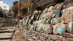 Ancient Buddhist Mani Stones Himalayas stock footage