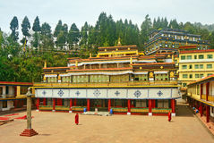 Ancient Buddhist Monastery and Monks. Rumtek Buddhist Monastery and Monks in Sikkim, India Royalty Free Stock Photo