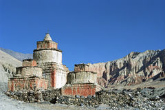 Ancient Buddhist ritual Stupas in the remote area in Upper Mustang. Royalty Free Stock Image