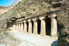 Ancient Buddhist Rock temples at Ajanta. Maharashtra, India Royalty Free Stock Photo