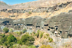 Ancient Buddhist Rock temples at Ajanta Stock Image