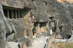 Ancient Buddhist Rock temples at Ajanta Royalty Free Stock Image