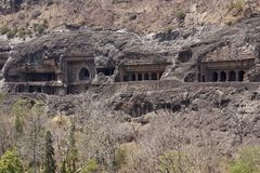 Ancient Buddhist Rock temples at Ajanta Royalty Free Stock Photos