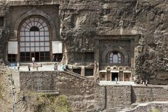 Ancient Buddhist Rock temples at Ajanta Stock Photo