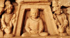 Ancient Buddhist sculptures Stock Image