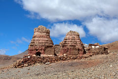 Ancient buddhist stupa in Garuda Valley, Tibet. Ancient buddhist stupa in Khyunglung, Garuda Valley, Tibet. It is an amazing complex of caves set in the hills on Stock Photo