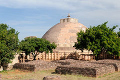 Ancient Buddhist stupas in Sanchi Royalty Free Stock Photo