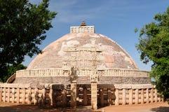 Ancient Buddhist stupas in Sanchi Royalty Free Stock Photo