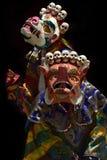 Ancient Buddhist Tantric costumes of White Mahakala and Orange Makara, Tibet. Ancient Buddhist Tantric costumes of the White Mahakala and Orange Makara, Tibet Stock Image