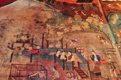 Ancient Buddhist temple mural Stock Images