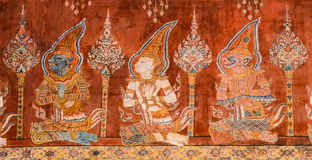 Ancient Buddhist temple mural painting Stock Images