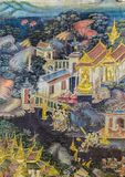 Ancient Thai Buddisht mural painting on temple wall stock image