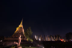 Ancient buddhist temple ruins at night in Sukhothai historical p Royalty Free Stock Image