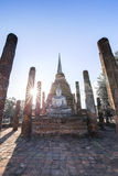 Ancient buddhist temple ruins in Sukhothai historical park Royalty Free Stock Images