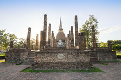 Ancient buddhist temple ruins in Sukhothai historical park Royalty Free Stock Photo