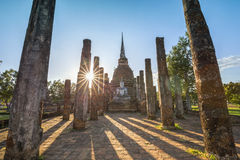 Ancient buddhist temple ruins in Sukhothai historical park Royalty Free Stock Photography