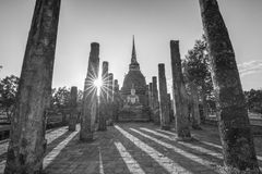 Ancient buddhist temple ruins in Sukhothai historical park Royalty Free Stock Photos