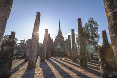 Ancient buddhist temple ruins in Sukhothai historical park Stock Photography