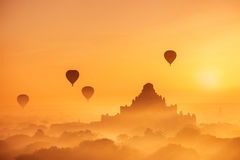 Ancient Buddhist Temples of Bagan Kingdom at sunrise. Myanmar Royalty Free Stock Image