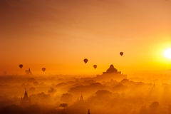 Ancient Buddhist Temples of Bagan Kingdom at sunrise. Myanmar Stock Images