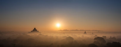 Ancient Buddhist Temples of Bagan Kingdom at sunrise. Myanmar Royalty Free Stock Photography