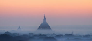 Ancient Buddhist Temples of Bagan Kingdom at sunrise. Myanmar  Stock Photos