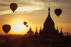 Ancient Buddhist Temples of Bagan Kingdom at sunrise. Myanmar (B Stock Image