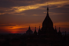 Ancient Buddhist Temples of Bagan Kingdom at sunrise. Myanmar (B Royalty Free Stock Images