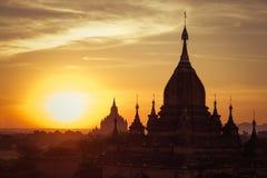 Ancient Buddhist Temples of Bagan Kingdom at sunrise. Myanmar (B Royalty Free Stock Photo