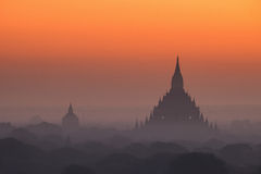 Ancient Buddhist Temples of Bagan Kingdom at sunrise. Myanmar (B Royalty Free Stock Photography