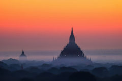 Ancient Buddhist Temples of Bagan Kingdom at sunrise. Myanmar  Stock Image