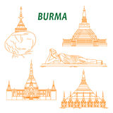 Ancient buddhist temples of Burma thin line icons. Popular buddhist pilgrimage and tourist sites of Myanmar symbols with Shwezigon Pagoda, Kyaiktiyo Pagoda Stock Photos