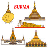 Ancient buddhistic temples of Burma colorful icon. Ancient buddhist temples and places of worship of Burma thin line icon with Shwezigon Pagoda, statue of Stock Images