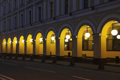 Ancient building with arches at night Stock Image