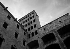 Ancient building in Barcelona center. Ancient building in Barcelona old city center in black and white Royalty Free Stock Photo