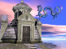 Ancient building and dragon. Illustration of ancient towered building on island with blue Chinese dragon and colorful sunset Stock Photography