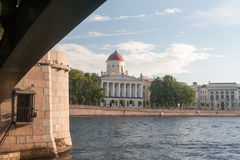 The ancient building on the embankment in St. Petersburg Royalty Free Stock Photo