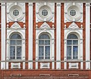 Ancient building facade. Decorative carved facade of the ancient wooden building Royalty Free Stock Image