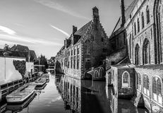 Ancient building of medieval Brugge, Belgium. Black-white photo Royalty Free Stock Photography