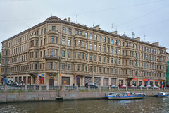 Ancient building on Moika River in Saint Petersburg, Russia Royalty Free Stock Photo