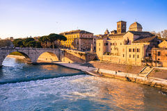 Ancient Building in Rome city skyline Stock Image