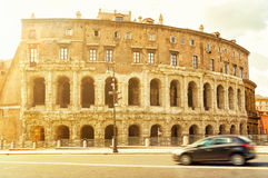 The ancient building in a street in central Rome Royalty Free Stock Photo
