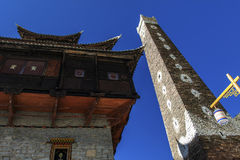 The ancient building. This is a Tibetan tower, was built with irregular stone Royalty Free Stock Photography