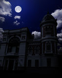 Ancient building under night sky. With moon Royalty Free Stock Photography