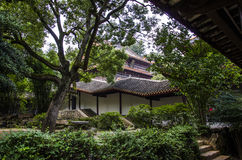 Ancient buildings and bamboo stock image