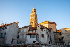 Ancient buildings and bell tower of cathedral in Stock Image