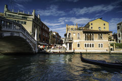 Ancient buildings and boats in the channel in Venice Royalty Free Stock Photography