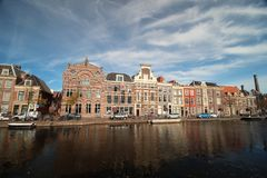 Ancient buildings with canals in the inner city of the town Leiden in t Netherlands. Ancient buildings with canals in the inner city of the town Leiden in the royalty free stock images