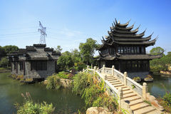 Ancient buildings in the Chinese garden Stock Photo